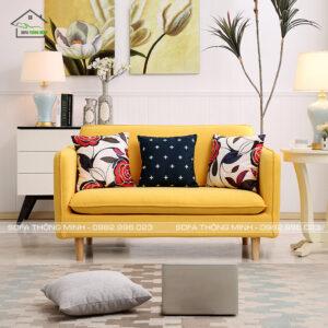 Sofa văng màu vàng nhỏ gọn tb 09