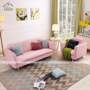 Sofa băng màu hồng đẹp mắt cá tính mãn TB-07