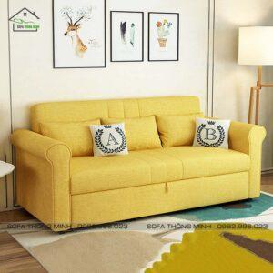 Sofa Giường Kéo Đẹp Tay Tròn TGK 14 Màu Vàng