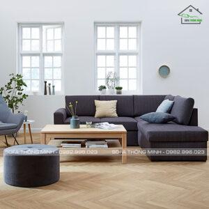 sofa góc đẹp + đôn tròn